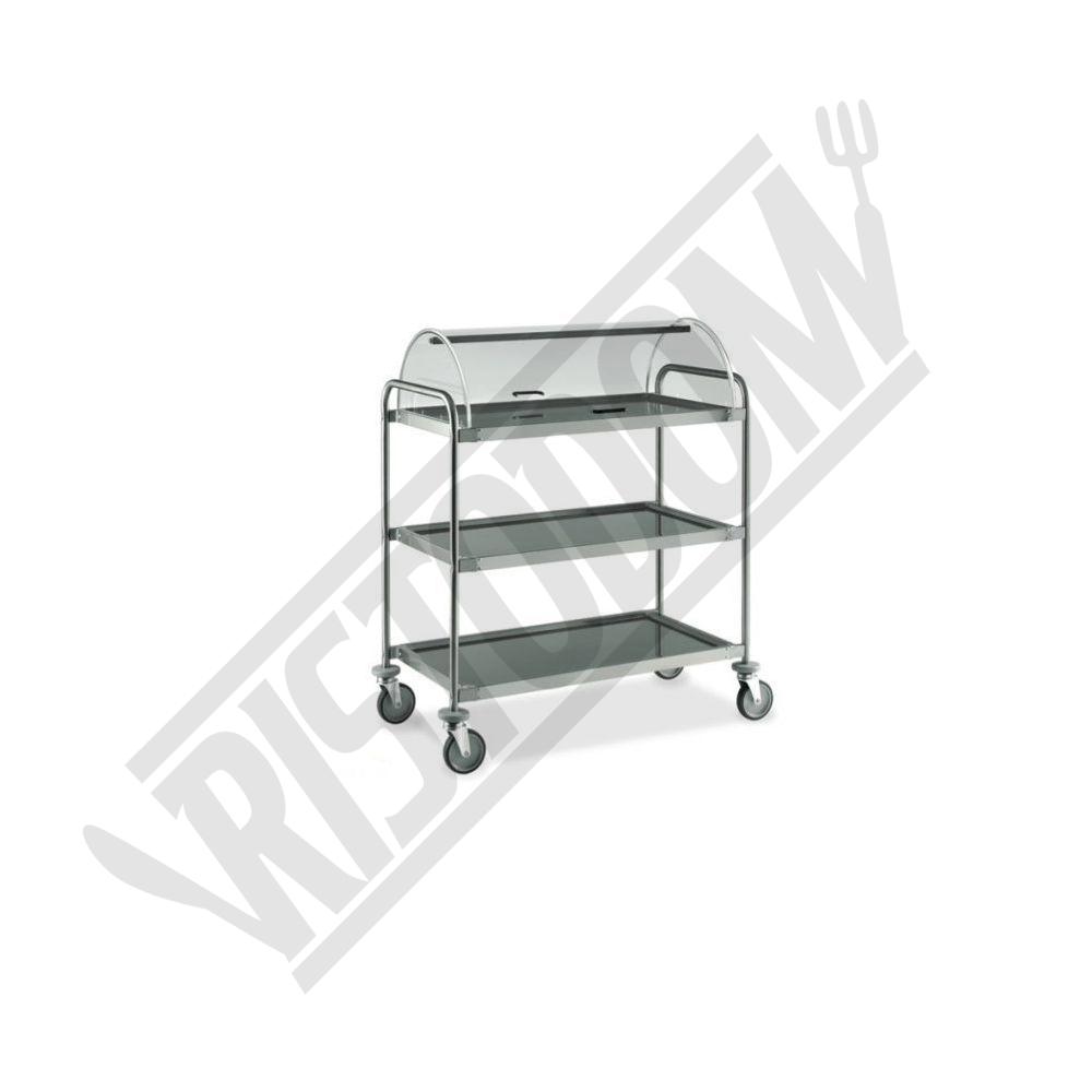 Carrello di servizio in acciaio inox 3 piani con cupola for Piani di cupola pdf